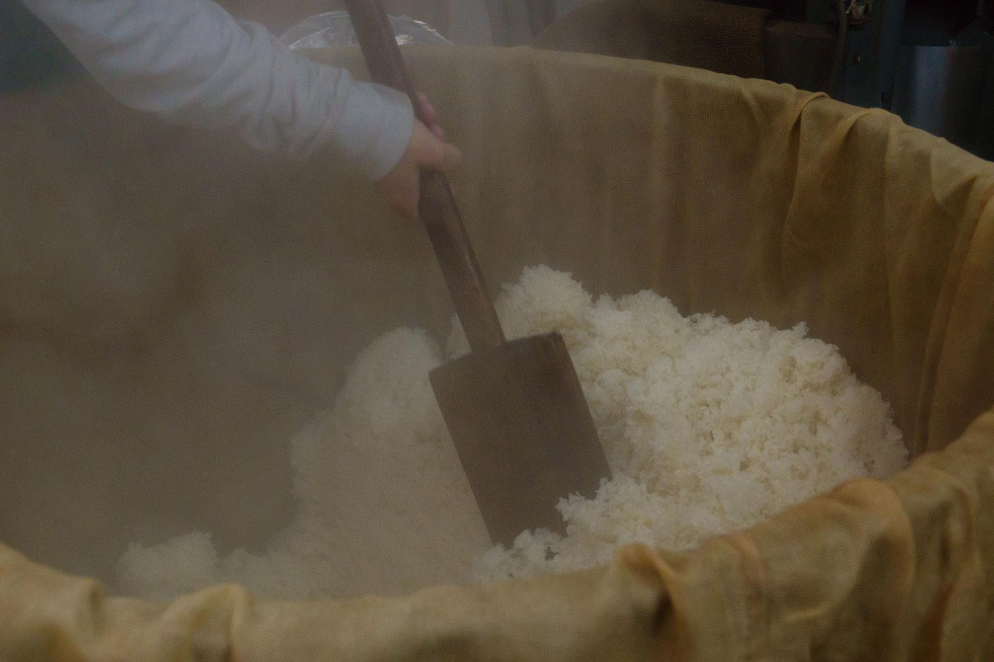 蒸しあがった白米